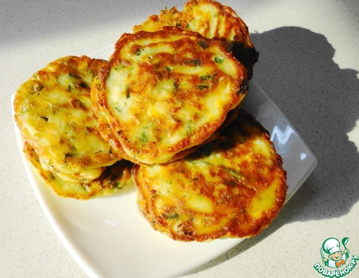 Рецепт: Оладьи с зеленью и вареными яйцами