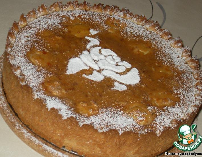 Рецепт: Яблочный пирог с абрикосовой глазурью