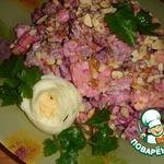 Салат из говядины с сыром и свеклой