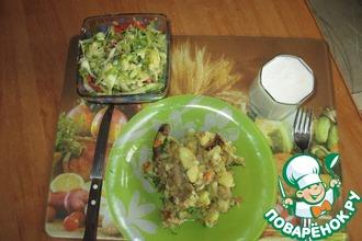 Рецепт: Жареная картошка на сале с мясом