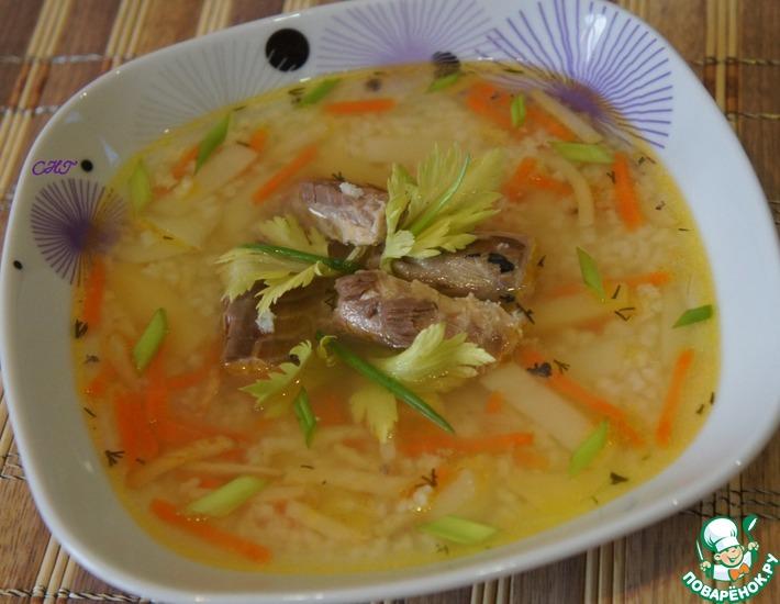 Рецепт: Суп из скумбрии с пшеном