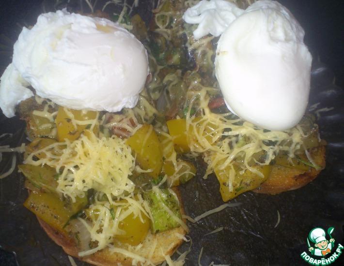 Рецепт: Вкусная итальянская закуска. Брускетта с овощами и яйцом-пашот