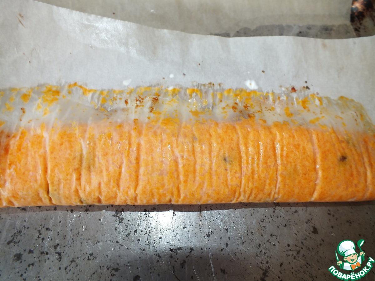 Морковный рулет с курагой