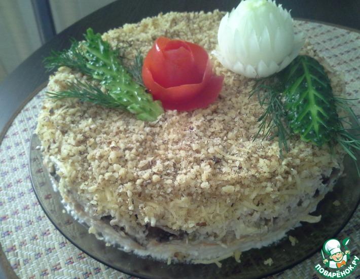 Рецепт: Салат слоеный с двойной курицей
