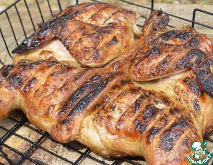 Рецепт: Курица на сетке в горчично-соевом маринаде