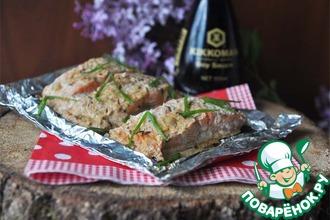 Рецепт: Рыба запечённая в сметанно-соевом маринаде