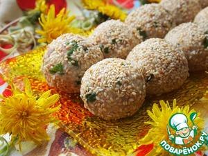 Balls salad with cod liver