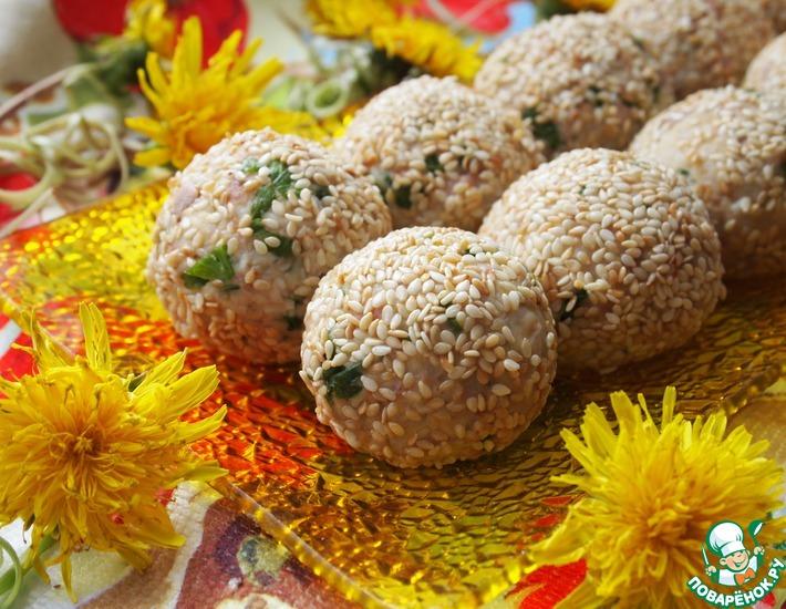 Рецепт: Салатные шарики с печенью трески