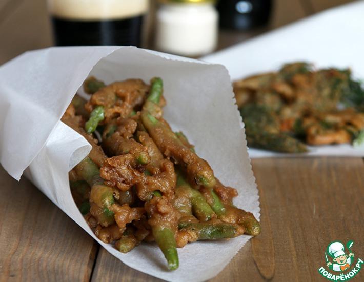 Рецепт: Стручковая фасоль во фритюре со сметанно-соевым соусом