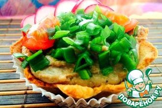 Рецепт: Хлебно-картофельные корзиночки с печеночным муссом Нежность