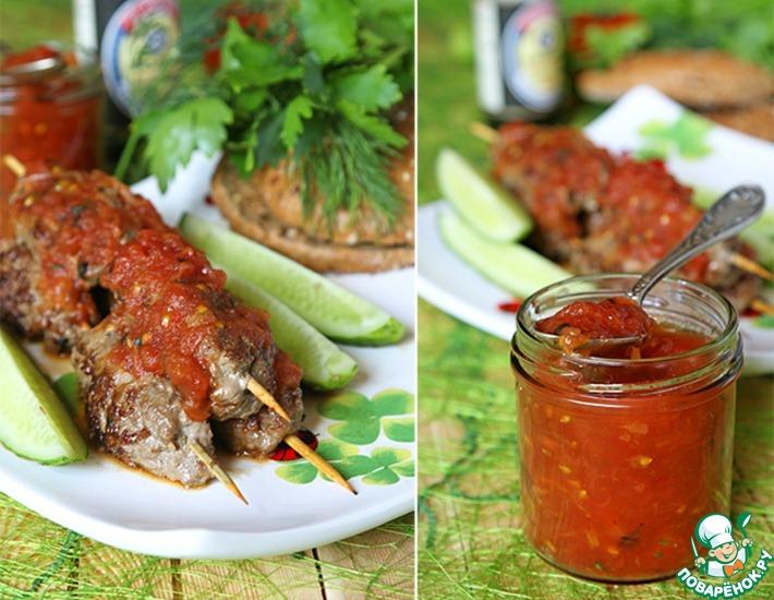 Рецепт: Кебабы из говядины с соево-томатным соусом