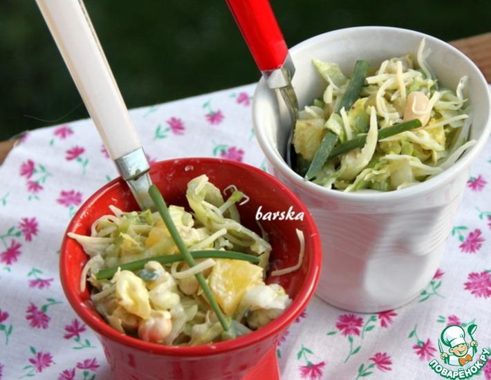 Рецепт: Салат с белой фасолью и ананасом