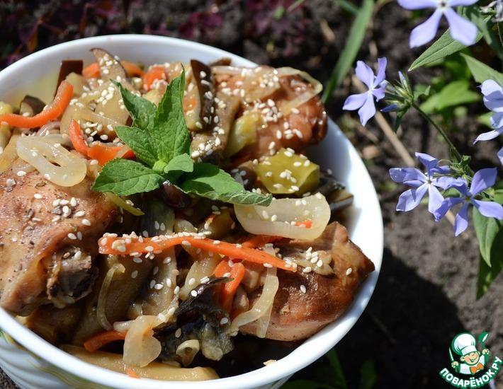 Рецепт: Куриные голени с овощами в кисло-сладком соусе
