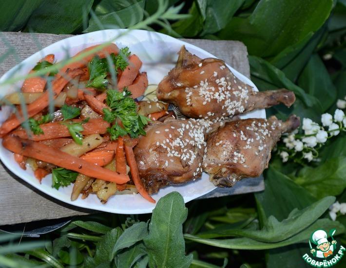Рецепт: Курочка в цитрусовом маринаде с овощами