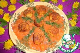 Рецепт: Рыбные шарики в томатно-ананасовом соусе