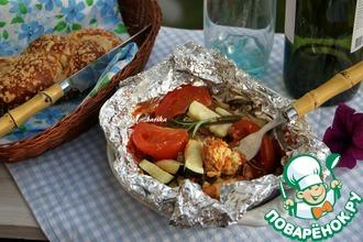 Рецепт: Сыр, запечённый в томатно-соевом соусе с овощами