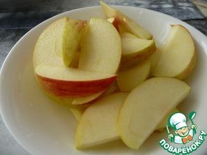 Карамелизированная куриная печень с яблоком Масло топленое