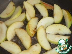 Карамелизированная куриная печень с яблоком Бренди