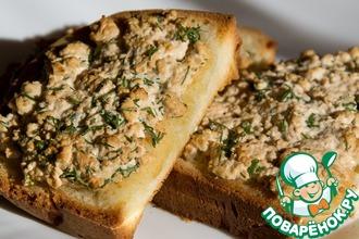 Рецепт: Горячие бутерброды с творогом и соевым соусом