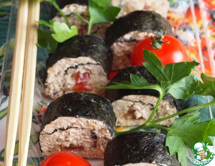 Рецепт: Роллы с начинкой из творога и овощей