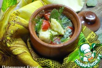 Рецепт: Треска с овощами и грибами в сливочно-соевом соусе