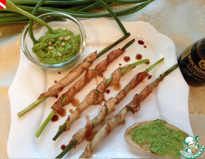 Рецепт: Необычные шашлычки и соус песто к мясу