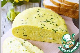 Рецепт: Домашний сыр с зеленым луком и тмином