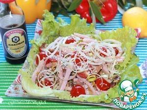 Рецепт Салат с луком-пореем, мясом и кунжутом