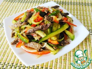 Cucumbers with beef in Chinese