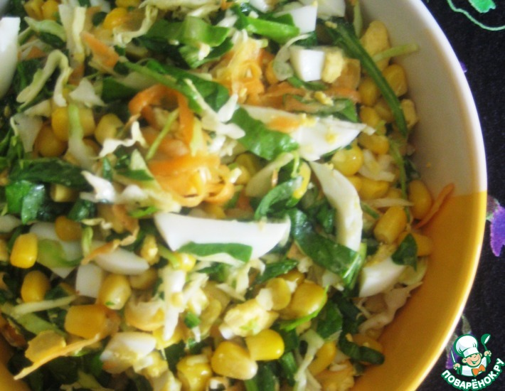 Рецепт: Щавелевый салат с кукурузой
