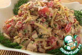 Рецепт: Салат из крабовых палочек Весенний бриз