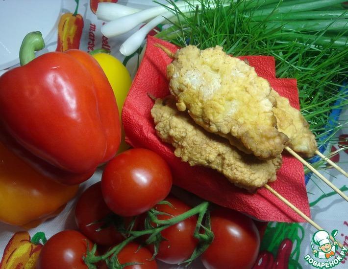 Рецепт: Домашний куриный шашлычок в кляре