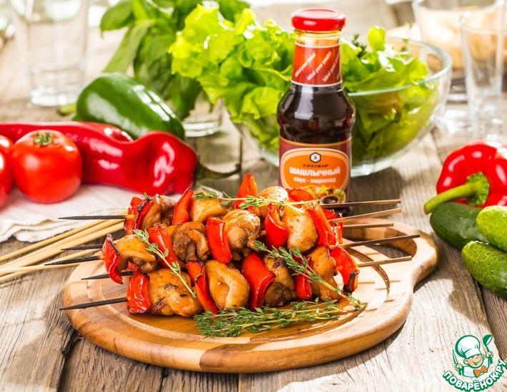 Рецепт: Пряный куриный шашлычок с тимьяном