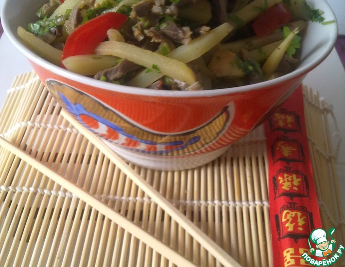 Рецепт: Салат из куриных желудочков по корейски