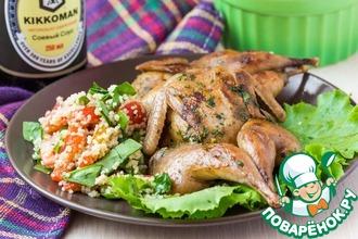 Рецепт: Перепелки на гриле с салатом из кускуса и овощей