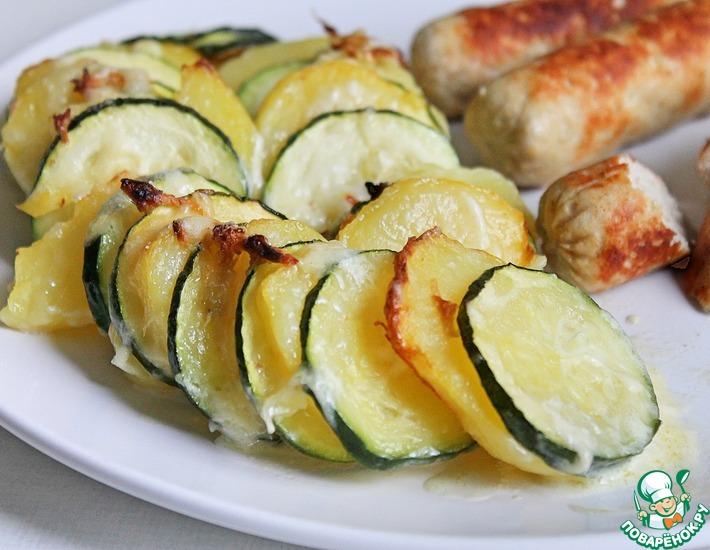 Рецепт: Запеченный картофель с кабачком