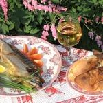 Рыба BBQ с луком-пореем