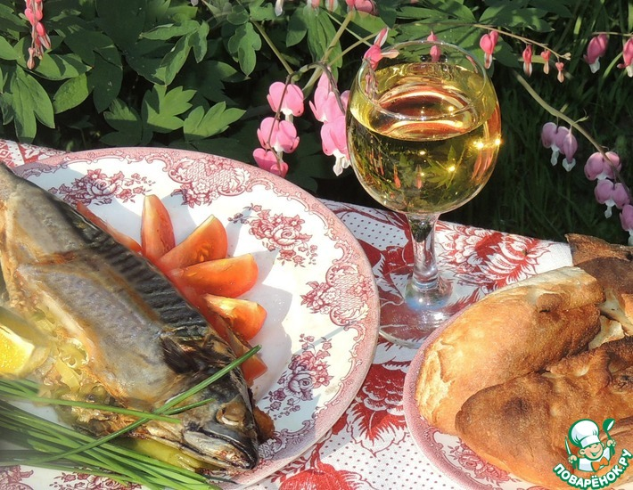 Рецепт: Рыба BBQ с луком-пореем