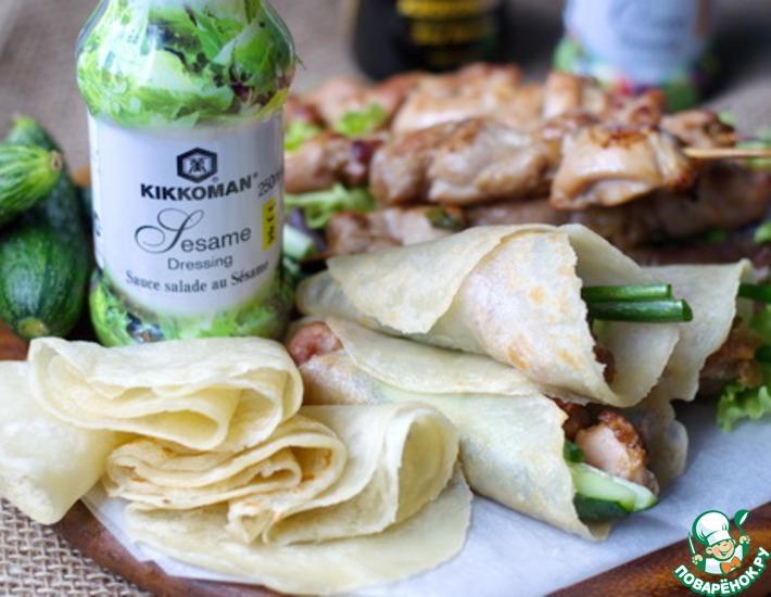 Рецепт: Куриный шашлык и мандаринские блинчики