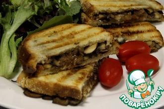 Рецепт: Горячие бутерброды с грибами и сыром на гриле