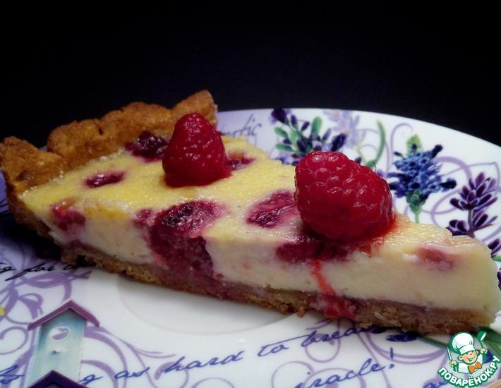 Рецепт: Миндальный пирог с малиной и белым шоколадом