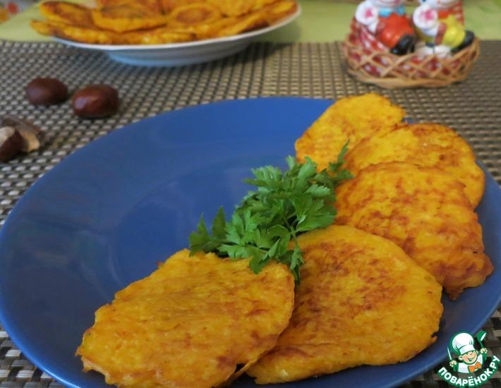 Рецепт: Деруны из тыквы, фаршированные брынзой и шпинатом