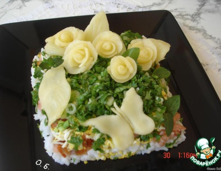 Рецепт: Салат Сырный букет
