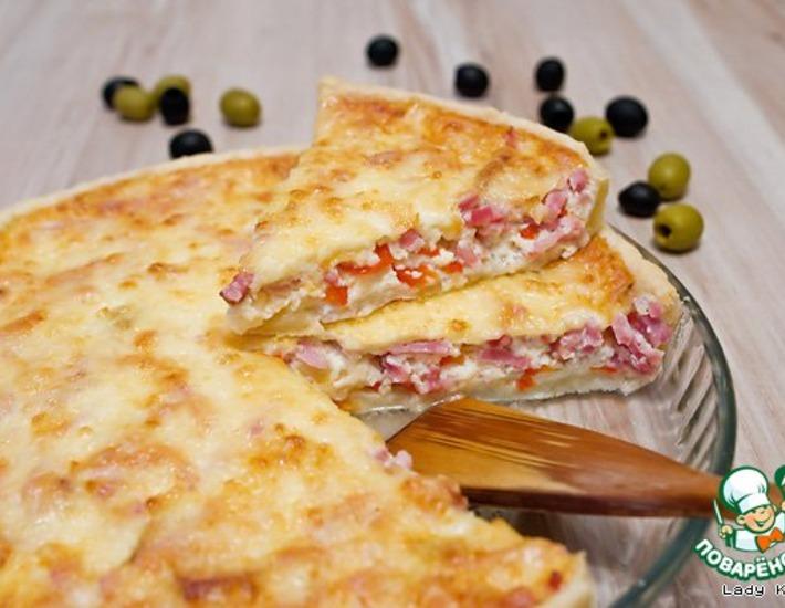 Рецепт: Сырный пирог с беконом и перцем
