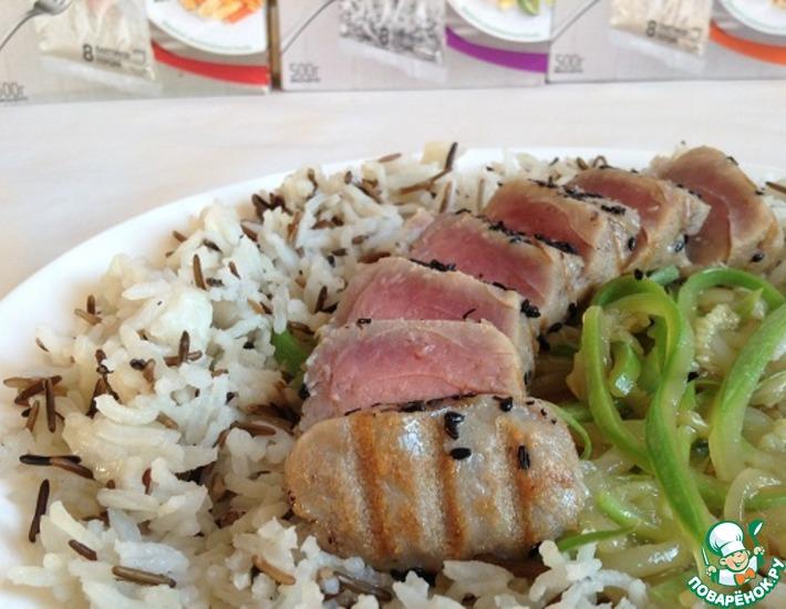 Рецепт: Тунец с маринованным кабачком