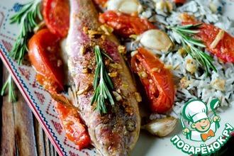 Рецепт: Барабулька, запеченная с помидорами и чесноком