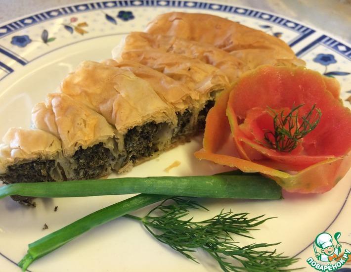 Рецепт: Пирог со шпинатом и творогом Спанакопита
