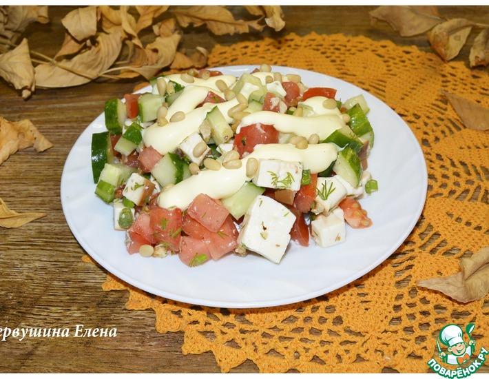 Рецепт: Салат овощной с копченым сыром