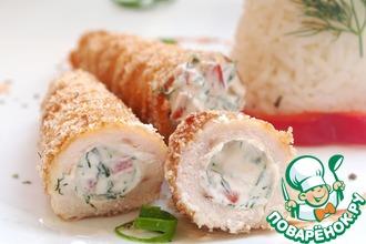 Рецепт: Куриные трубочки с начинкой и рисом