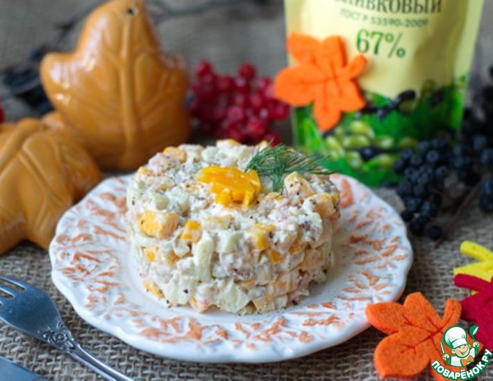 Рецепт: Салат из креветок с сыром и яблоками